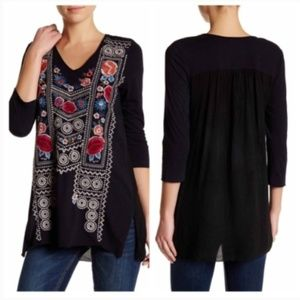 Johnny Was JWLA Embroidered Raven Tunic Blouse XS